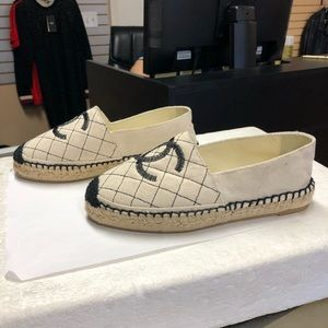 Chanel Biarritz Fabric Espadrilles Black And White